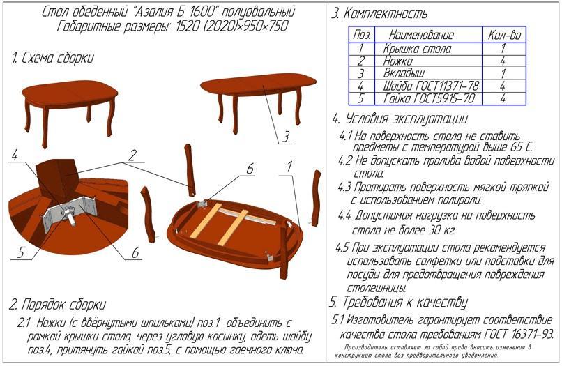 Деревянный стол  инструкция